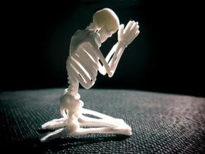 """Skeleton """"Pray..."""" in White Natural Versatile Plastic"""