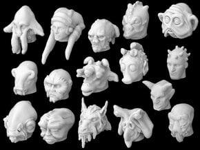 (Legion) Alien Heads Set I in Smooth Fine Detail Plastic