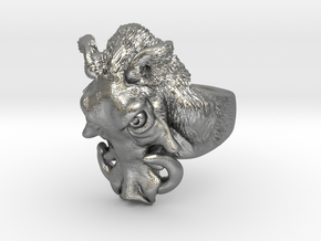 Warthog Ring in Natural Silver: 6 / 51.5