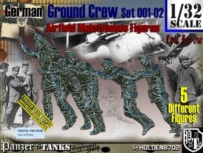 1/32 German Ground Crew SET001-02 in White Natural Versatile Plastic