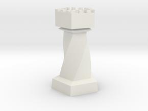 Geometric Chess Set Rook in White Premium Versatile Plastic