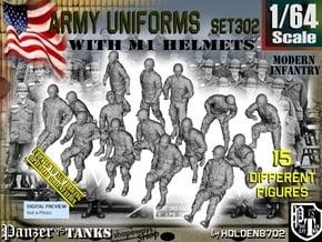 1/64 Modern Uniforms M1 Helmets Set302 in Smooth Fine Detail Plastic