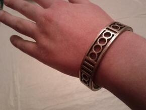 Binary Heart Bracelet in Polished Bronzed Silver Steel