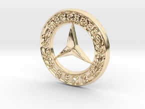 Vintage 80's Pendant Benz in 14K Yellow Gold