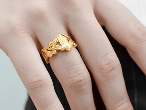 Art Deco Ring #1 in 14k Gold Plated Brass: 6.5 / 52.75
