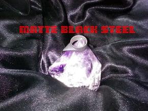 Size 6.5 USA Spike Ring in Matte Black Steel