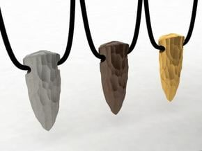 spear tip stone age pendant in Polished Bronzed Silver Steel