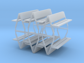 Bench type F (duble) - H0 ( 1:87 scale ) 6 Pcs set in Smooth Fine Detail Plastic