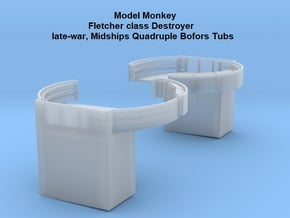 1/96 Fletcher class Midships Quad Bofors Tubs in Smooth Fine Detail Plastic