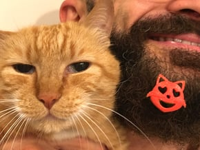 Cat love for beard - front wearing in Red Processed Versatile Plastic