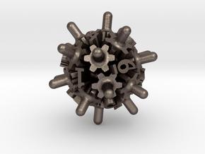 Clockwork Gears Dice in Polished Bronzed-Silver Steel: d12