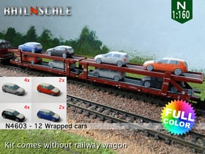12 Wrapped cars (N 1:160) in Natural Full Color Sandstone
