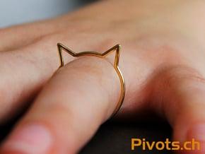 "Cat Ear Ring ""Büsi"" in Polished Brass"