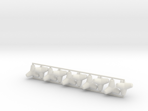 Tetrapod - 2 ton size (x10) in White Natural Versatile Plastic: 1:64 - S