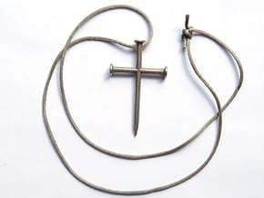 Nail Cross in Polished Bronzed Silver Steel