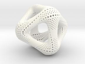 Perforated Octahedron in White Processed Versatile Plastic