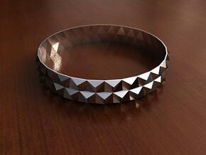 Bangle Bracelet Tetrahedron in Fine Detail Polished Silver