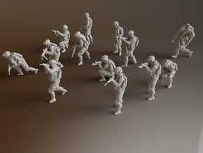 HO Soldiers Combat 1 Group 1 - 13 in Smooth Fine Detail Plastic
