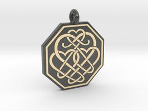 Celtic Heart Octagon Pendant in Glossy Full Color Sandstone