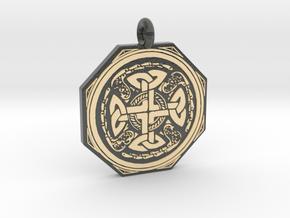 Celtic Cross Octogonal Pendant in Glossy Full Color Sandstone
