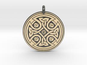 Celtic Cross - Round Pendant in Glossy Full Color Sandstone