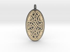 Celtic Cross - Oval Pendant in Glossy Full Color Sandstone