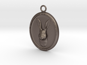 Rabbit Cameo Pendandt in Polished Bronzed-Silver Steel