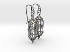 A-F Earrings in Polished Silver (Interlocking Parts)