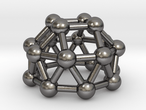 0784 J23 Gyroelongated Square Cupola (a=1cm) #3 in Polished Nickel Steel