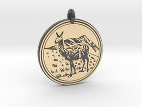 Llama Animal Totem Pendant in Glossy Full Color Sandstone