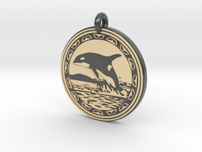 Orca Whale Animal Totem Pendant in Glossy Full Color Sandstone
