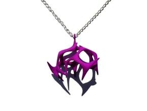 Branching Pendant in Purple Processed Versatile Plastic
