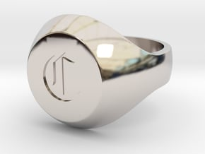 """Initial Ring """"C"""" in Rhodium Plated Brass"""