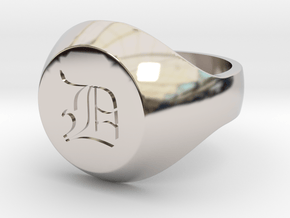 """Initial Ring """"D"""" in Rhodium Plated Brass"""