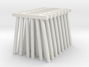 Medium Piers for Trestle N (1:160) Six Piles 8x in White Natural Versatile Plastic