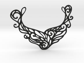 Butterfly pendant in Black Natural Versatile Plastic: Large
