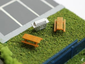 N Scale 2x Picnic Bench+BBQ in Smooth Fine Detail Plastic