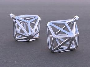Triakis Octahedron Earrings in Rhodium Plated Brass