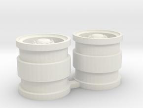 Velgen, achteras, met naafreductie, schaal 1:50 in White Natural Versatile Plastic