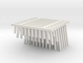 Double Track Trestle N (1:160) 9 Pack No Cross in White Natural Versatile Plastic