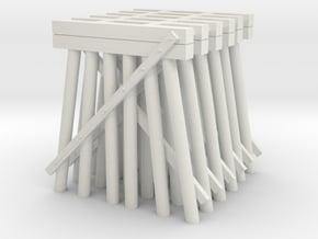 Trestle N (1:160) Six Piles Piers 6 Pack V.2 in White Natural Versatile Plastic