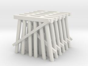 Trestle N (1:160) Six Piles Piers 6 Pack V.1 in White Natural Versatile Plastic
