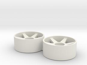 2x Llantas Mini-Z Delantera Offset 0 - 20mm in White Natural Versatile Plastic