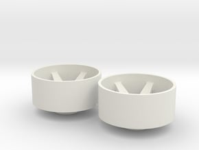 2x Llantas Mini-Z Delantera Offset 3 - 20mm in White Natural Versatile Plastic