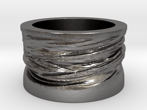 Twisted Ring  in Polished Nickel Steel: 5 / 49
