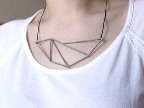 Convex Necklace - Crystalline Series in Polished Nickel Steel