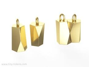 Scutoid Earrings (solid version) in Polished Brass