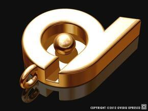 """dq"" ""d9"" ""pb"" ""p6"" pendant / keyholder in Polished Gold Steel"