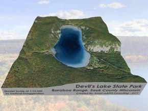 Devils Lake Map 1:12k -  Bathymetry in Glossy Full Color Sandstone