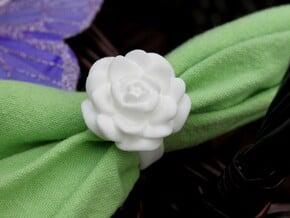 Rose Napkin Ring in White Processed Versatile Plastic